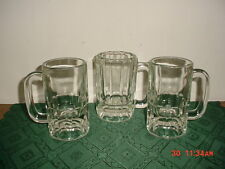 "3-PIECE LARGE HEAVY GLASS 5 1/4"" BEER ""STEINS"" WEIGHTED BOTTOMS/10 oz/CLEARANCE!"