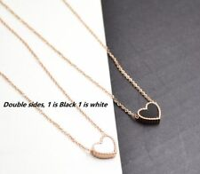 Rose Gold Stainless Steel MOP Shell Enamel Love Heart Pendant Necklace Gift PE20