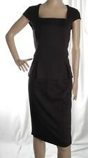 George Black Cap Sleeve Smart/Office Peplum Dress  Size 14 UK 42 EUR - NEW
