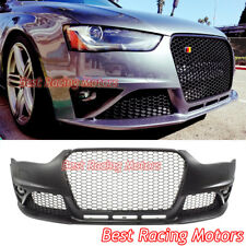 RS4 Style Front Bumper + Gloss Black Grill + Glass Fog Fit 13-16 Audi A4 S4 B8.5