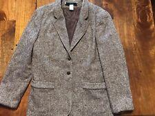 Bobbie Brooks Womens Vintage Wool Blend Brown Tweed Blazer Size 13/14