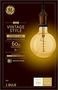 GE 36538 Vintage Style Spiral Filament LED Light Bulb, 5 Watts