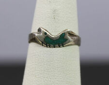 Native American Sterling Silver Fish Turquoise Chip Inlay Ring