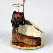 Yorkie Ornament Angel Figurine Hand Painted