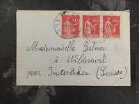 1935 Trelon France cover  to Wilderswil Switzerland Anti Tuberculosis Label