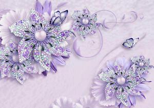 Fototapete Lila Blumen Schrift Schmetterlinge Schmetterlinge Perlen 3D Effekt Pe