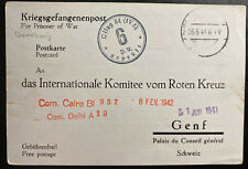 1941 Oflag 4 E Germany Indian Prisoner Of War POW Postcard Cover to Red Cross