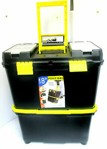 Plastic Double Tool Box Toolbox Storage Pull Along Handle Trolley 9 Compartments