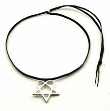 Heartagram Pewter Pendant with Necklaces Choker Cord ADJUSTABLE