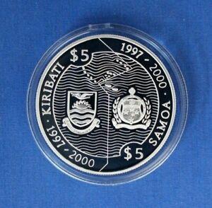 1997 Samoa & Kiribati Silver Proof $5 Half coins in Capsule with COAs