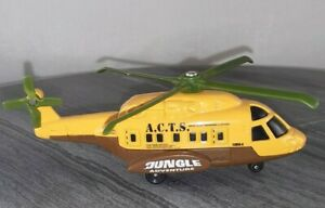 "Matchbox Mattel 2003 Mission Chopper Helicopter ""Jungle Adventure""  Die cast 4in"