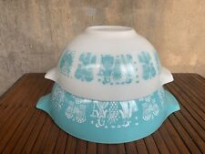 #444 & #443 PYREX Turquoise Blue Amish Butterprint Cinderella Mixing Bowls-Chip