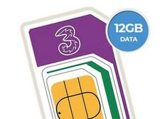 Three(3)PAYG 4G Trio Cut SIM Card Preloaded 12GB Data Unlimited Calls+Txt 30day