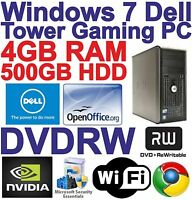 Windows 7 Dell Tower Dual Core 2x3.00GHz PC Gaming Computer - 4GB RAM 500GB HDD