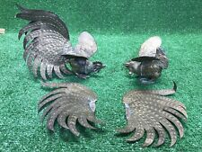 New listing 2 Vintage Brass Heavy Large Fighting Roosters Cocks Mid-Century Fast Ship wow