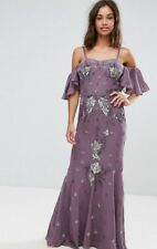 MAYA PETITE PURPLE ALL OVER EMBELLISHED CORSET TOP COLD SHOULDER MAXI DRESS 2