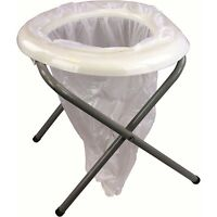PORTABLE FOLDING TOILET ideal camping loo field potty commode NO CHEMICALS
