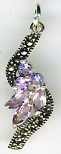"925 Sterling Silver Amethyst & Marcasite Pendant  27 x 10mm   (1.1/8"")"