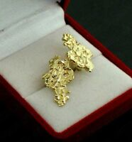 Real 10K Solid Yellow Gold Large Nugget Diamond Cut Stud Earrings