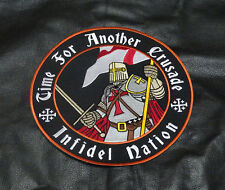 TIME FOR ANOTHER CRUSADE CHRISTIAN INFIDEL 9 INCH BIKER MC JACKET VEST PATCH