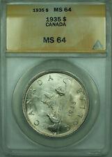 1935 Canada Silver Dollar $1 Coin ANACS MS-64