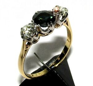 DAZZLING VINTAGE 18ct  YELLOW GOLD SAPPHIRE & DIAMOND TRILOGY RING SIZE P 1/2