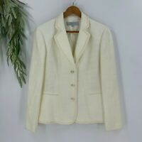 Tahari Arthur S Levine Womens Boucle Jacket Suit Blazer Size 14 Winter White K8