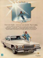 1979 Cadillac Deville Coupe Man Skiing Skier Vintage Color Photo Print Ad