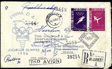 "ROMANIA 1956  First Day cover to HOLLAND ""refuse"" OLYMPICAL GAMES MELBOURNE"