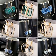 Boho Geometric Irregular Resin Round Dangle Drop Hook Ear Stud Earrings Jewelry