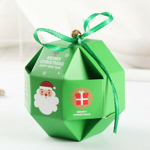 10Pcs Boxes Merry Christmas Paper Boxes Sweets Bags Diamond Favour Party Gift