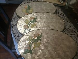 7 vintage oval capiz shell placemats