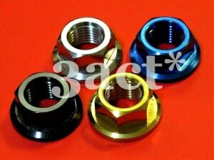 M12 x 1.25mm Pitch Titanium / Ti Sprocket Flange Bolt Nut - Ti Gold Blue Black