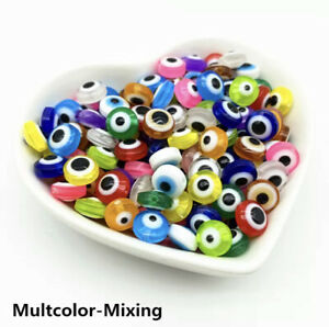 50pcs Evil Eye Beads Oval Shape Stripe Spacer Beads For Jewelry Making DIY Charm
