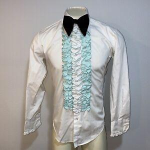 Vintage 1980s Chartreuse Ruffled Tuxedo Shirt