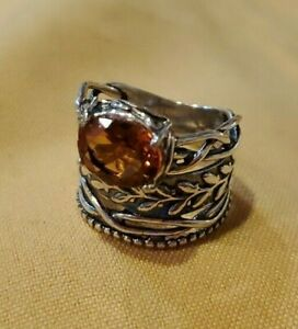 OR PAZ STERLING SILVER 925 TOPAZ WIDE BAND RING SZ 8 MADE IN ISRAEL PZ