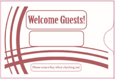 """Hotel Key Card Sleeve """" Welcome Guests""""  2-3/8"""" x 3-1/2"""" 5000CT- Item#KCB238B"""