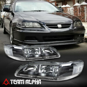 Fits 1998-2002 Honda Accord [Black/Clear] Crystal Corner Headlight Headlamp Lamp
