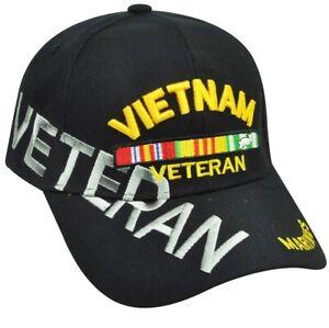 Vietnam Veteran Marines Military Hat Cap  USA Soldiers Black Support US