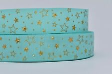 Turquoise and Gold Foil Star 25mm Grosgrain Ribbon per metre