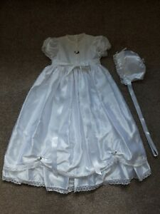 Handmade Traditional White Satin Long Christening Gown & Bonnet 6-9 Months