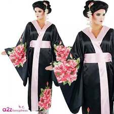 Geisha Oriental Ladies Fancy Dress Japanese Floral Kimono Asian Adults Costume