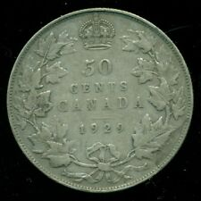 1929 Canada, King George V, Silver Fifty Cent Piece   F237