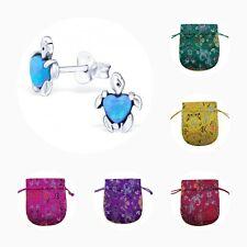 Childrens Girls Sterling Silver Opal Turtle Stud Earrings Azure Opal - Pouch