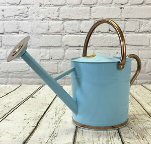 9 Litre Duck Egg Blue & Copper Metal Watering Can with Rose by Selections
