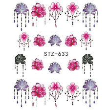 6 Sheets Nail Art 3D Decal Stickers Bright Multicolored Flowers Jewelry Drop