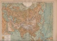 c. 1890 ASIA PHYSICAL MAP  Antique Map