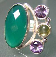 925 silver cocktail design cut green onyx/amethyst ring UK N½/US 7.25
