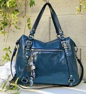 Coach Alexandra pat leather satchel Shoulder tote bag purse 15273 deep teal blue