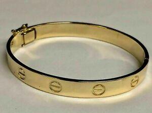 Women's Design Bangle Bracelet 14k Solid Yellow Gold Beautiful Hand Jewelry